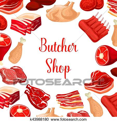 Butcher shop, butchery meat products vector poster Clipart.