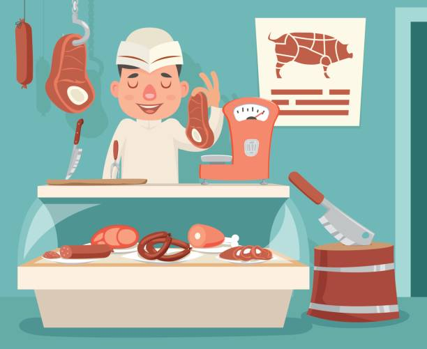 Best Butcher Shop Illustrations, Royalty.