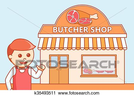 Butcher shop doodle illustration Clipart.