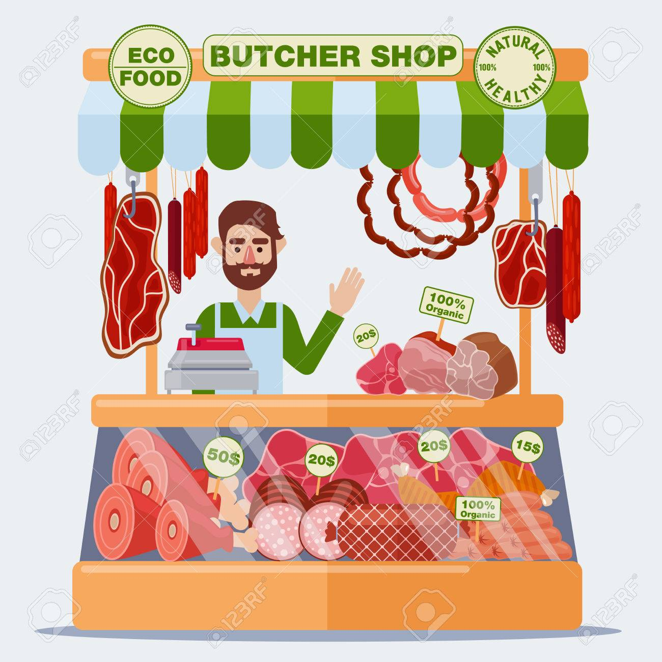 Butcher Shop. Meat Seller. Meat Products. Vector illustration.