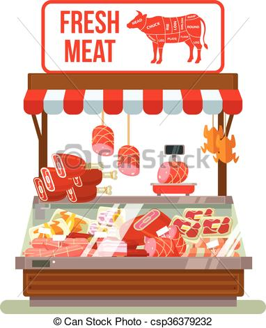 Fresh meat. Butcher shop.
