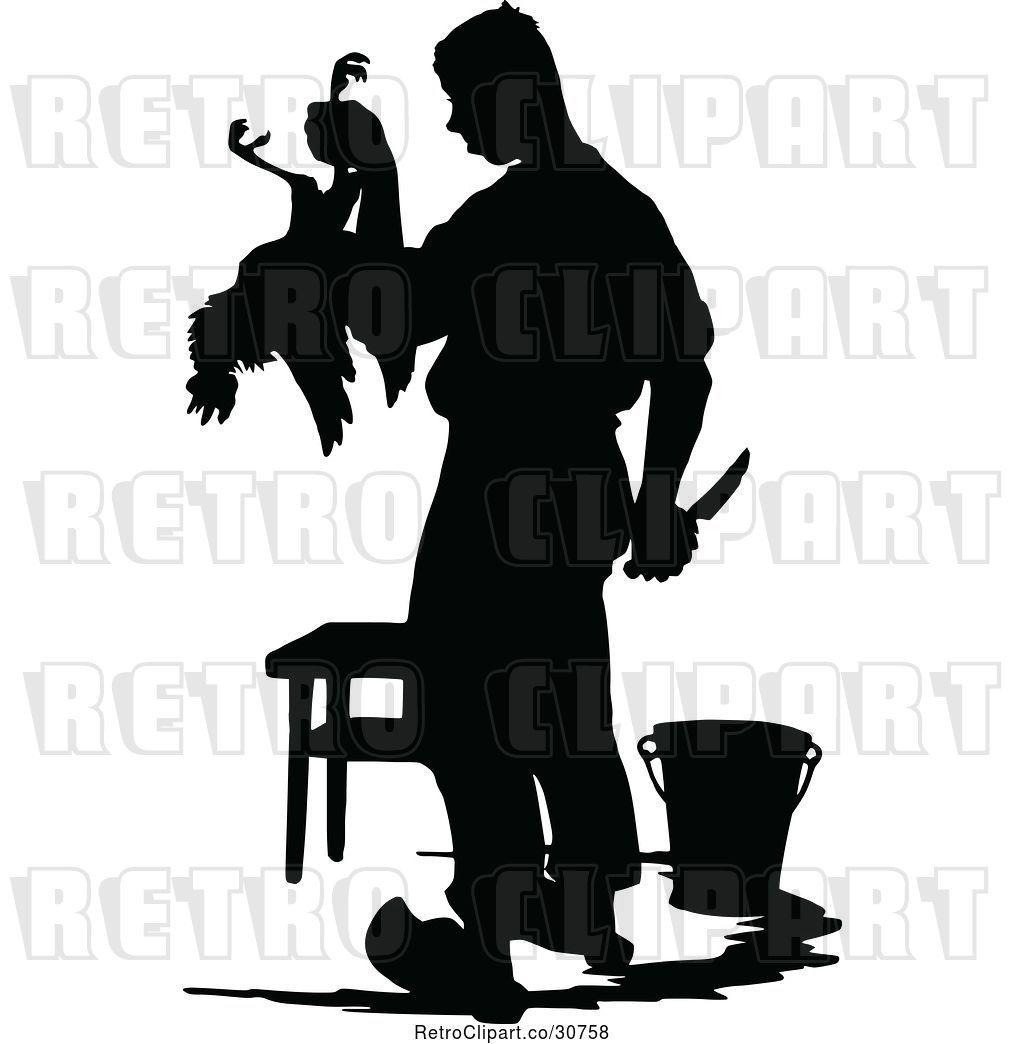 Vector Clip Art of Retro Silhouetted Farmer Butchering a.