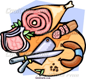 Butcher's block with various Vector Clip art.