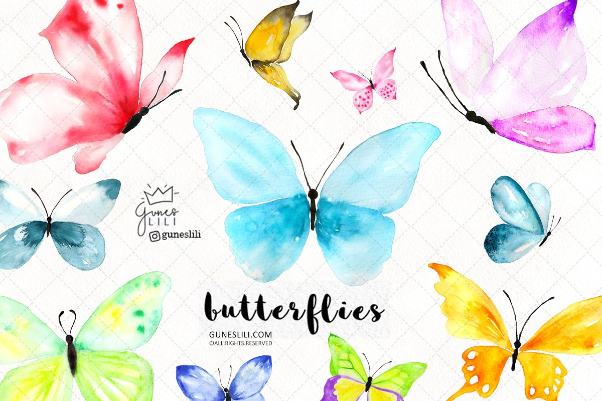 Watercolor Butterfly Cliparts.
