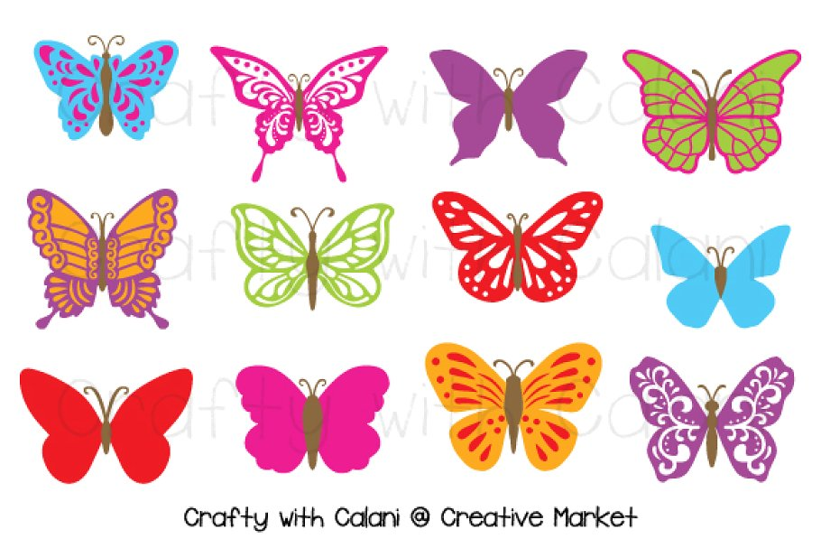 Butterfly Clipart in Candy Color.