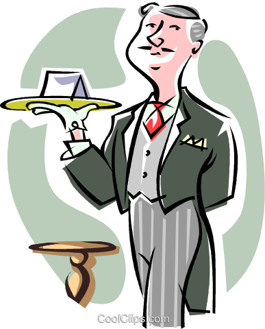 butler Royalty Free Vector Clip Art illustration.