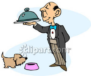 Clipart Picture of a Butler Feeding the Dog.