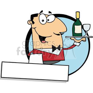 Banner Of A Cordial Male Butler Serving Wine clipart. Royalty.