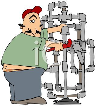 Fat Plumber Cartoon with His Butt Crack Showing.
