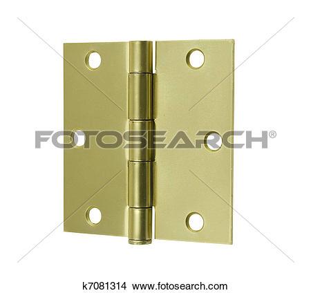 Stock Photo of square corner brass butt hinges k7081314.