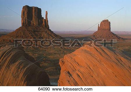 Stock Photography of Steep sandstone hills in valley, Merricks.