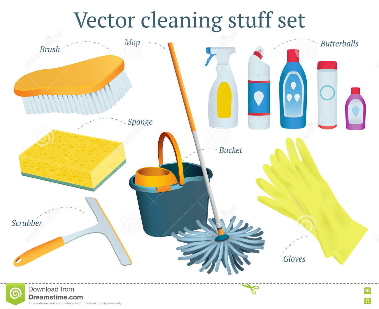 Set Of Vector Cleaning Stuff Design With Mop, Bucket, Butterball.