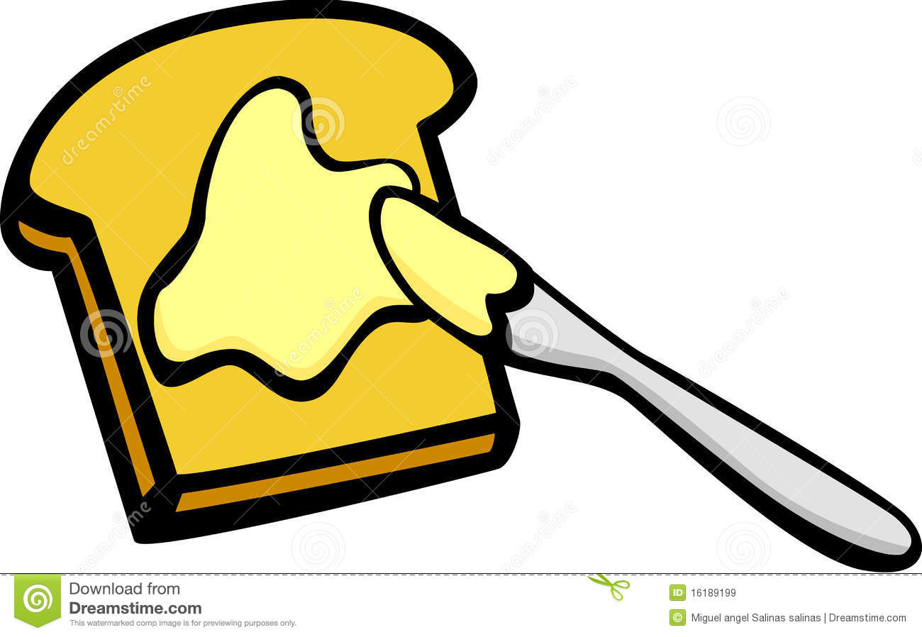Toast and butter clipart.