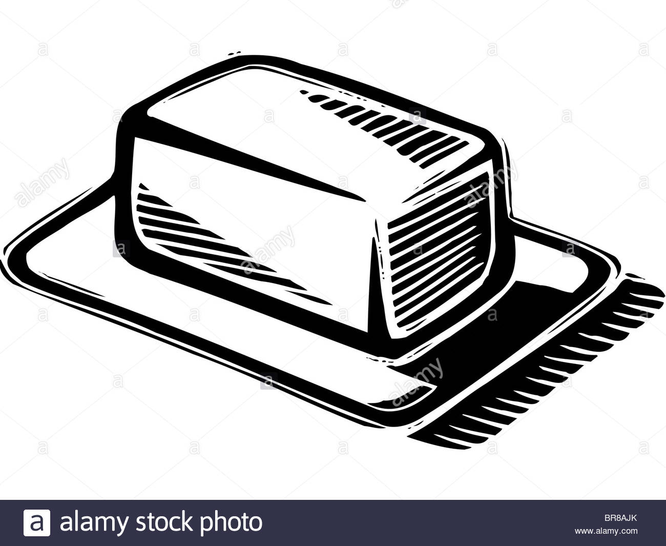 An illustration of a block of Butter in black and white Stock Photo.