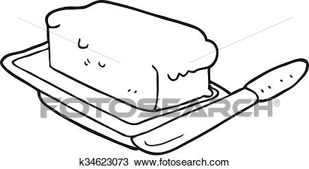 Black and white cartoon butter Clipart.