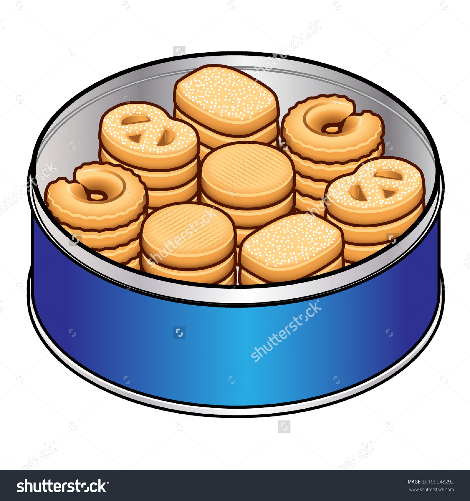 Selection Danish Butter Cookies Blue Tin Stock Vector 199048292.