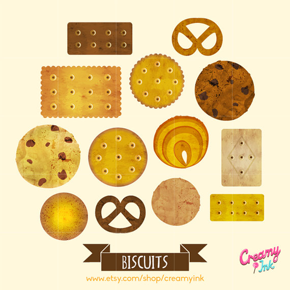 Cookie Digital Vector Clip art / Biscuit Digital Clipart Design.