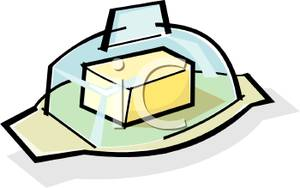 Stick of Butter on a Butter Dish Clipart Picture.