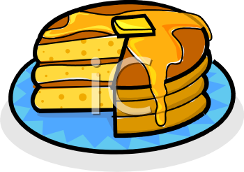 Butter Melting Down a Stack of Pancakes Clipart.