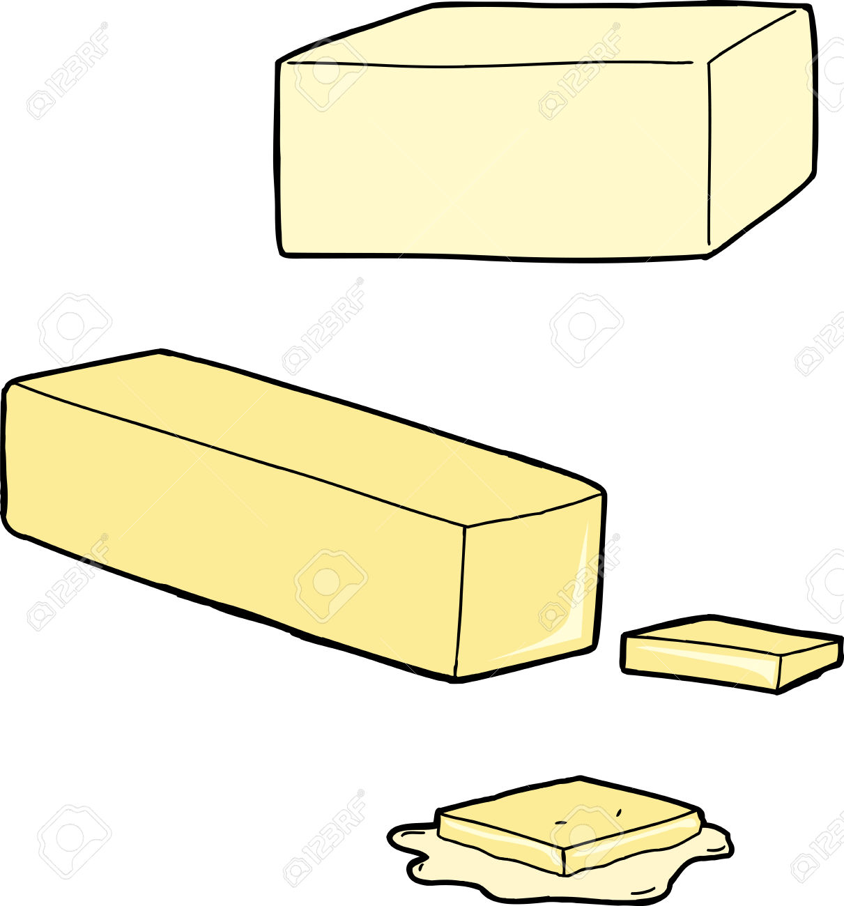 Butter As A Stick, Cut And Melted On White Royalty Free Cliparts.
