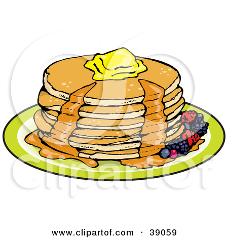 Clipart Illustration of a Stack Of Three Pancakes With Melting.
