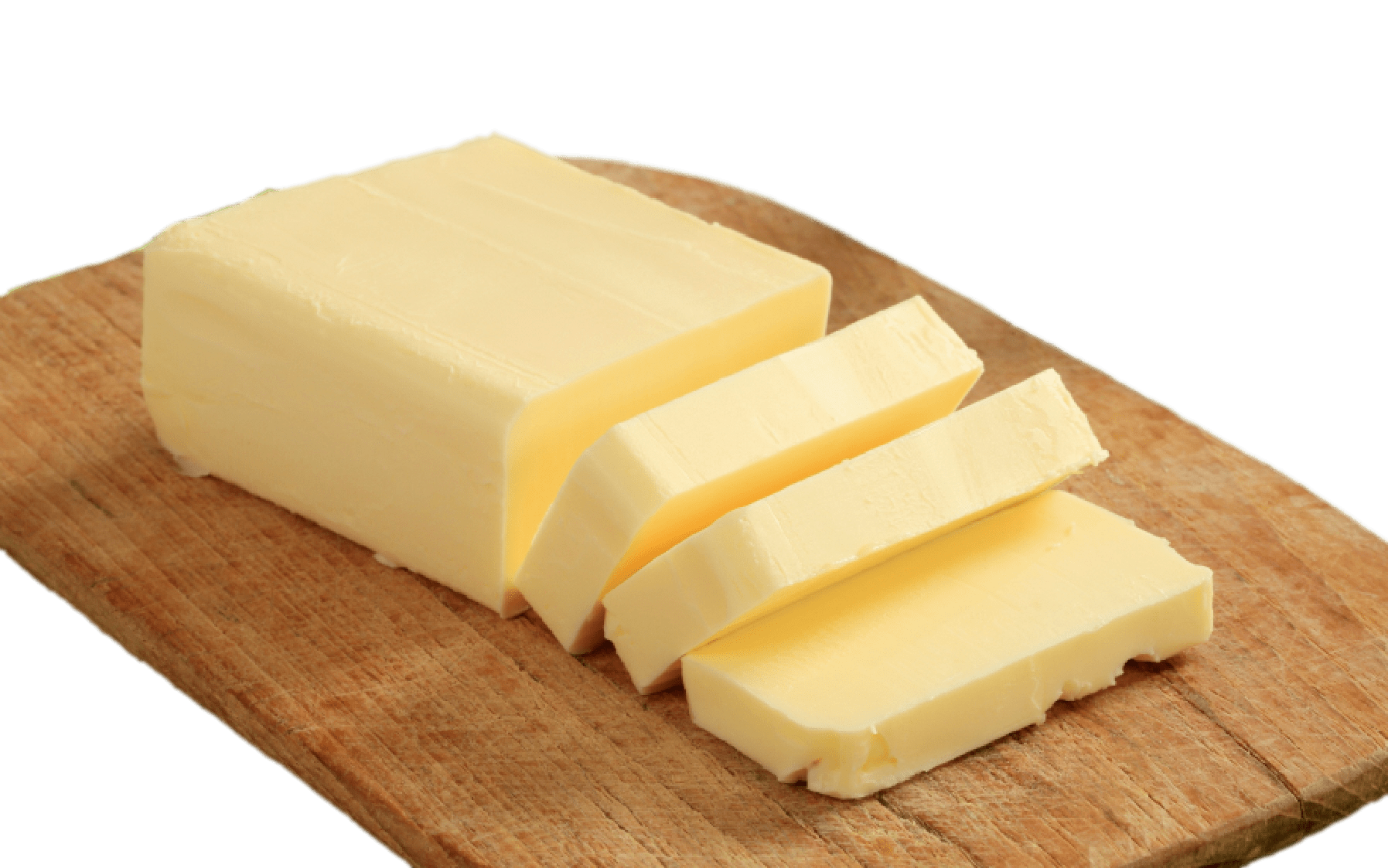 Butter on Wooden Plank transparent PNG.