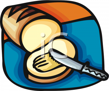 Butter Spread On Bread Clipart Image.