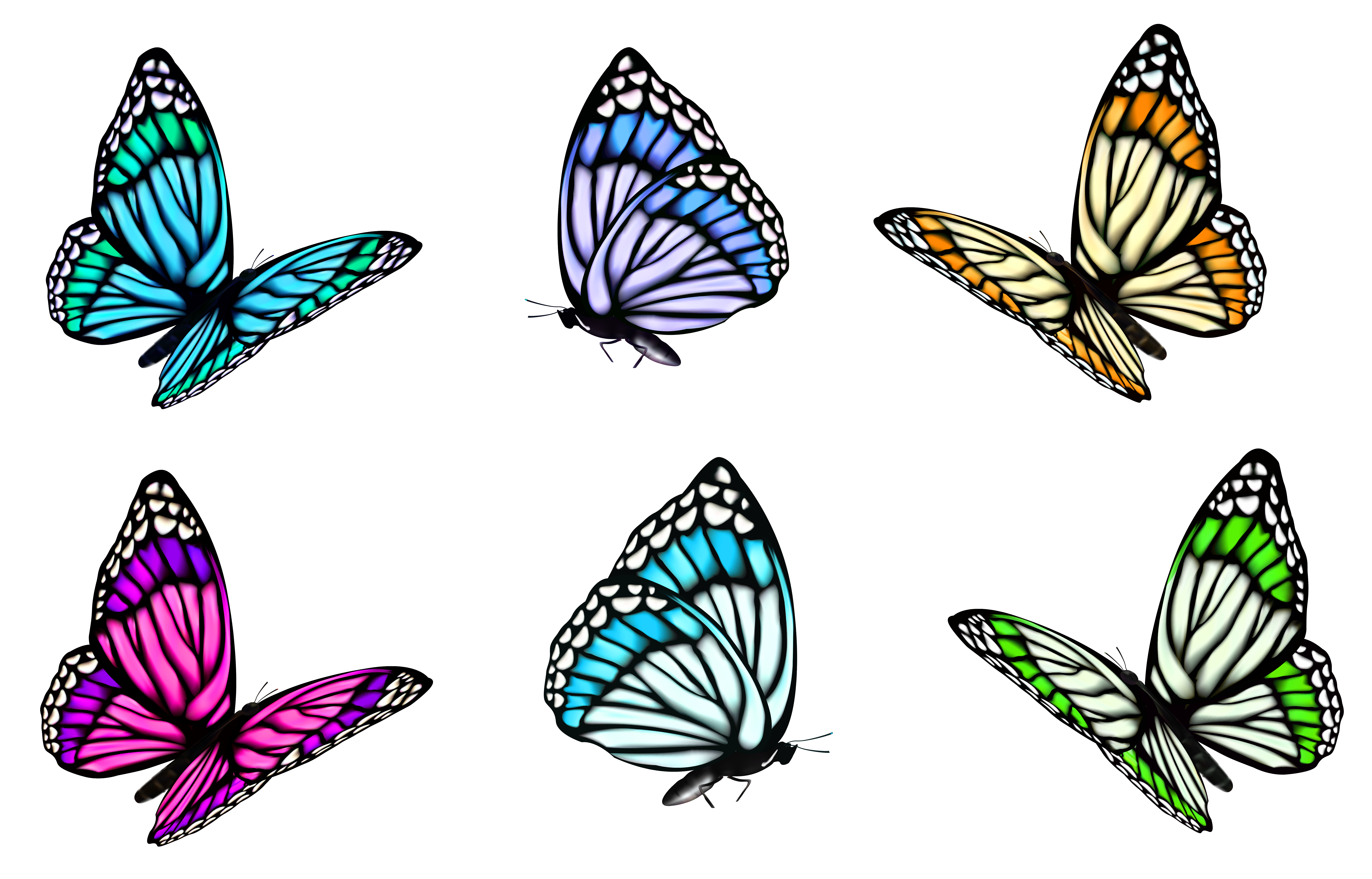 Transparent Butterfly Set PNG Clipart.