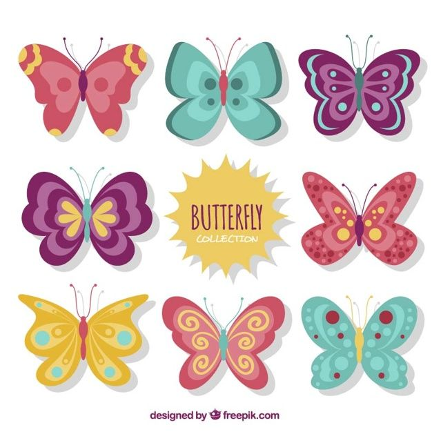 Cute vintage butterflies designs set Free Vector.