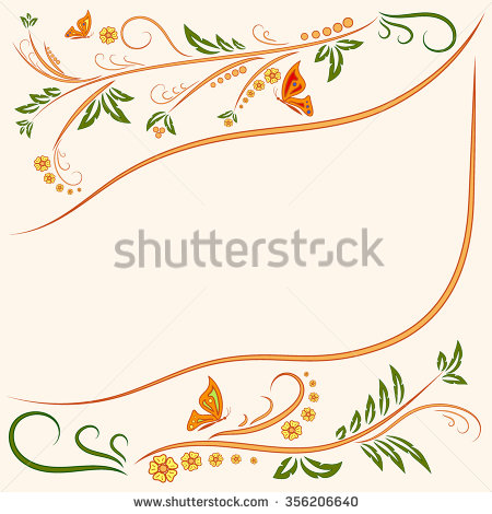 Floral Ornament Background With Butterflies. Flowers Illustration.