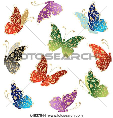 Clipart of Beautiful art butterfly flying, floral golden ornament.
