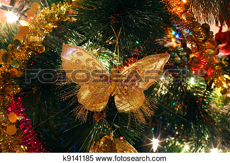 Butterflies Tree Ornament Clipart.