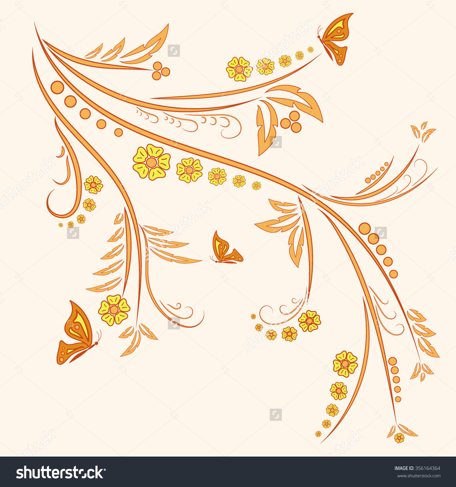 Floral Ornament With Butterflies On Beige Background. Flower.