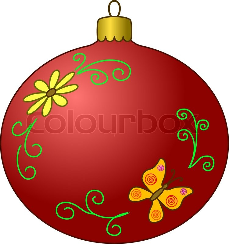 Vector, Christmas tree decoration: glass ball with butterfly and.