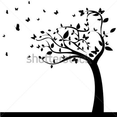 Abstract Tree With Beautiful Butterflies Leaf on White Background.
