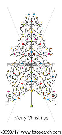 Clip Art of christmas butterfly tree card k8990717.