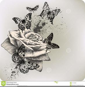 Cross With Butterflies Clipart.