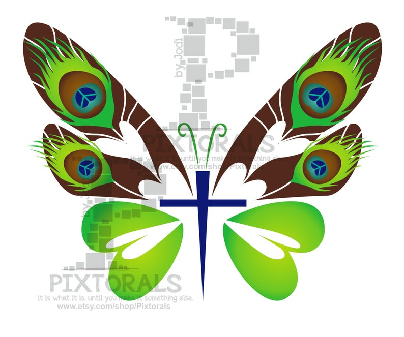 Butterfly Cross Graphic / logo. Colorful, Vector, EPS, JPG, PNG, svg  Clipart, Graphic, Faith.