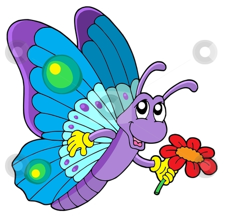 Clipart Butterfly And Flower.