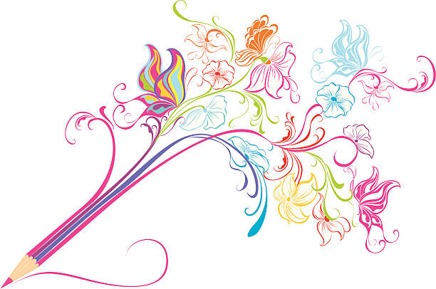 Clip Art Of A Butterfly Pencil Clip Art, Vector Images.