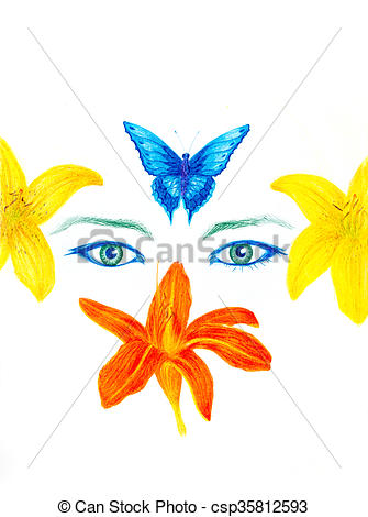 Stock Illustration of woman eyes with flower and butterfly, color.