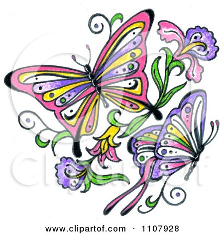 Clipart Black And White Butterflies With Rose Patterns.