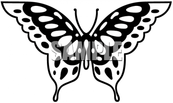 Black and White Clipart Picture of a Butterfly with Wings Spread.