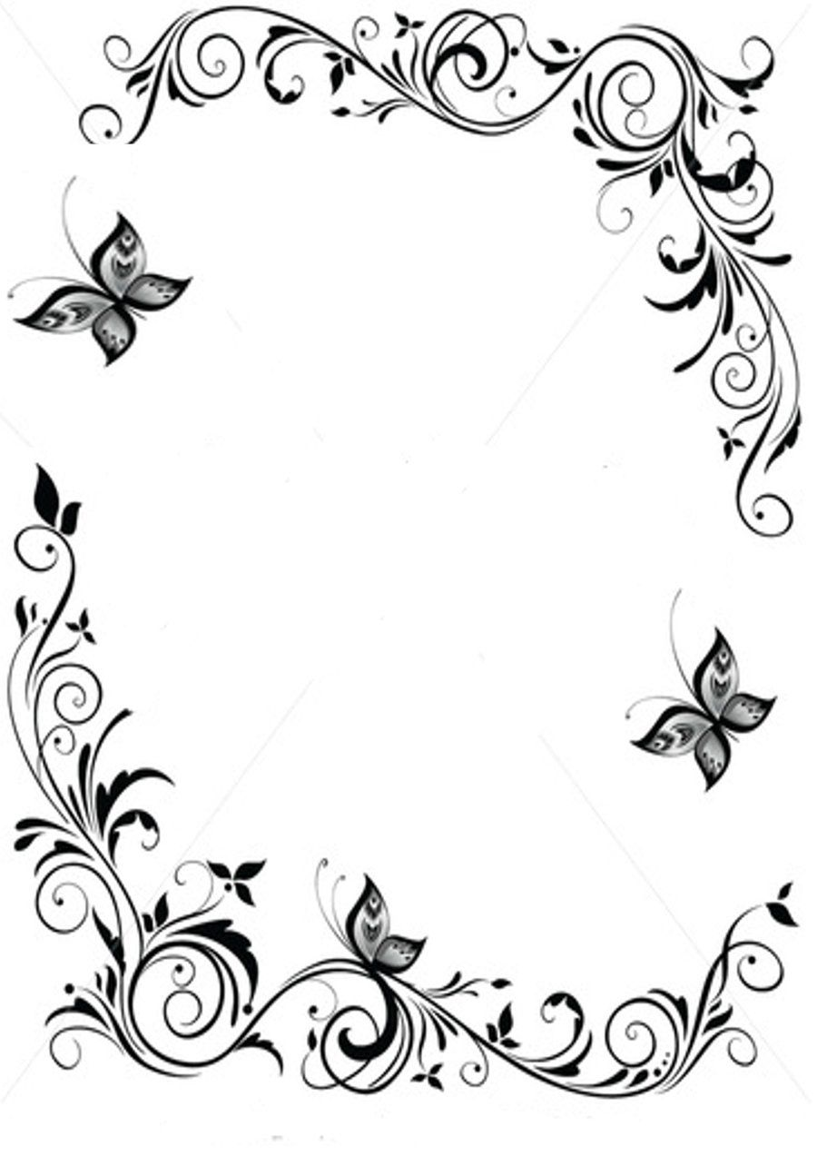Black+and+White+Butterfly+Border.
