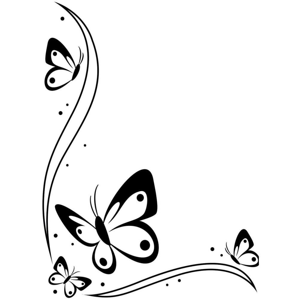 Butterfly Border Black And White Clipart.