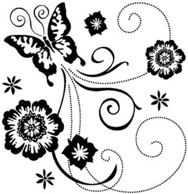 Border Design Black And White Butterfly_more cliparts.