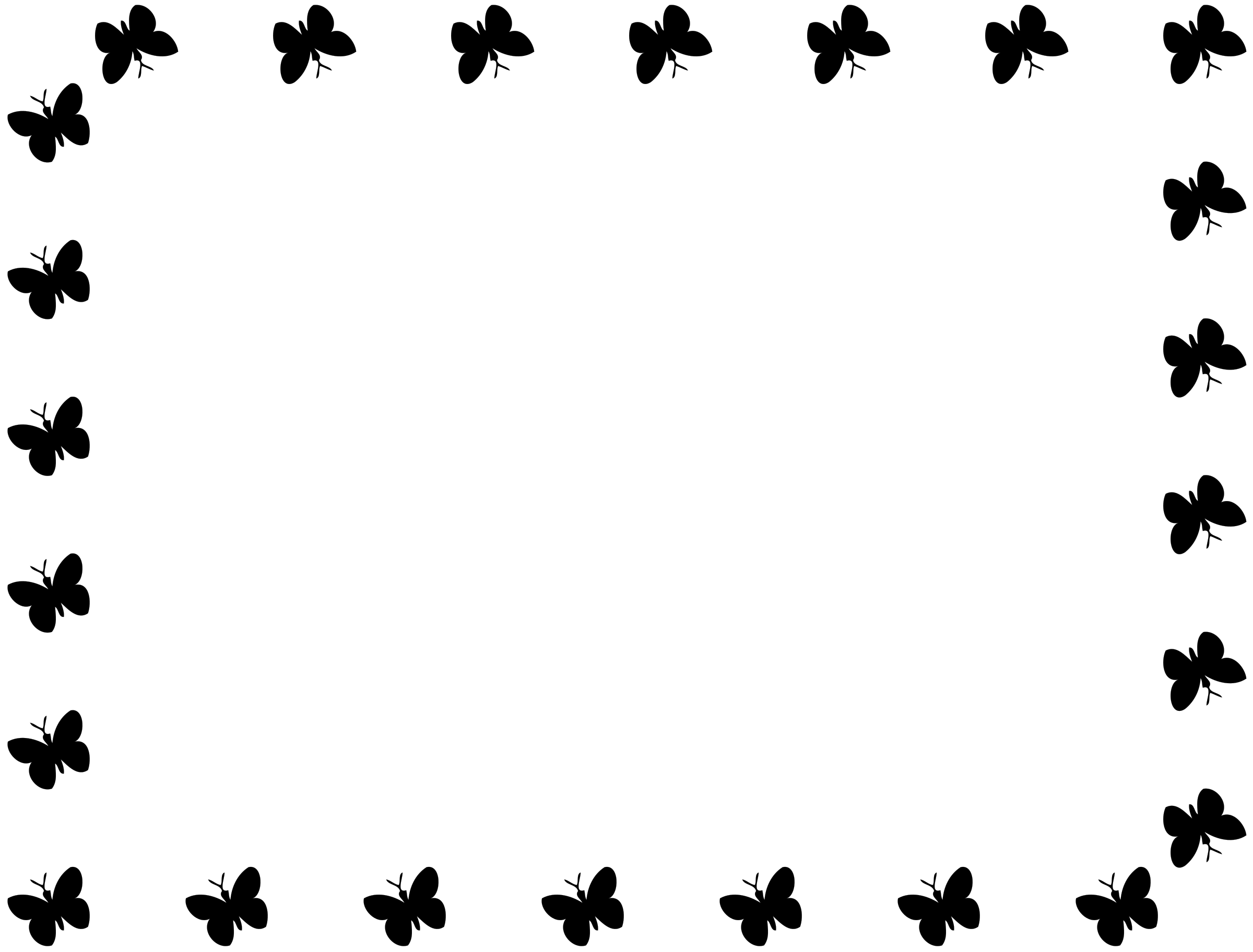 Butterfly Border Clipart Black And White.