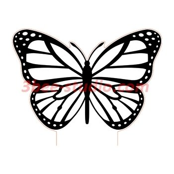 Butterfly 3d illusion lamp plan vector file.