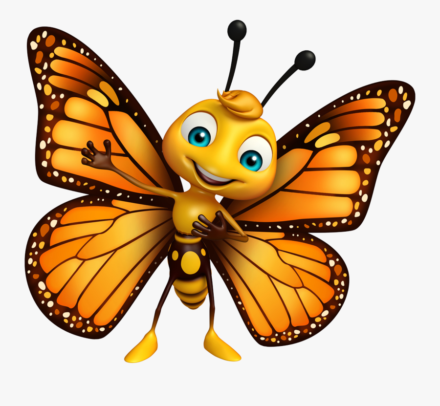 Cute Monarch Butterfly Cartoon Clipart , Png Download.