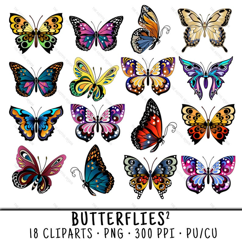 Butterfly Clipart, Butterfly Clip Art, Clipart Butterfly, Clip Art  Butterfly, Butterfly PNG, PNG Butterfly, Digital Butterfly.